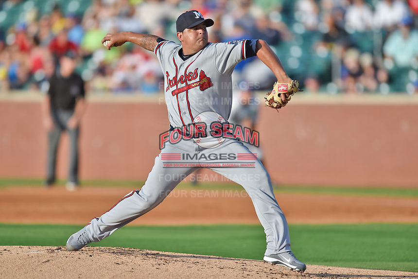 Mississippi Braves pitcher William Perez #57 delivers a pitch during the Southern League All Star game at AT&T Field on June 17, 2014 in Chattanooga, Tennessee. The Southern Division defeated the Northern Division 6-4. (Tony Farlow/Four Seam Images)