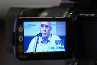 Olivier Dufour, founder of Skema, seen through a video recorder at the Les Blog conference in Paris December 2005 on blogging, new media and internet strategy