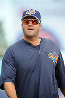 Brooklyn Cyclones pitching coach Marc Valdes (17) during game against the Staten Island Yankees at MCU Park on June 18, 2012 in Brooklyn, NY.  Brooklyn defeated Staten Island 2-0.  Tomasso DeRosa/Four Seam Images