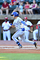 Bluefield Blue Jays right fielder Dominic Abbadessa (2) swings at a pitch during a game against the Greeneville Reds at Pioneer Park on June 30, 2018 in Greeneville, Tennessee. The Blue Jays defeated the Red 7-3. (Tony Farlow/Four Seam Images)
