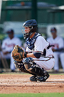 GCL Braves catcher Logan Brown (28) during the first game of a doubleheader against the GCL Yankees West on July 30, 2018 at Champion Stadium in Kissimmee, Florida.  GCL Yankees West defeated GCL Braves 7-5.  (Mike Janes/Four Seam Images)