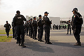 Mexico City, Mexico<br /> June 17, 2008<br /> <br /> Federal police line up at the new federal police center.