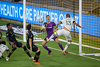 LOS ANGELES, CA - SEPTEMBER 13: Pablo Sisniega #23 GK of LAFC defending his box during a game between Portland Timbers and Los Angeles FC at Banc of California stadium on September 13, 2020 in Los Angeles, California.