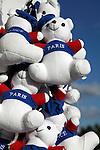 Stuffed toy bears with Paris sign for sale on Concorde Square Place de la Concorde. Paris. France