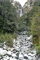 Devil's Punchbowl Falls in winter, Arthur's Pass National Park, Canterbury, South Island, New Zealand, NZ