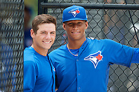 GCL Blue Jays Davis Schneider (76) and pitcher Anderson Nunez (40) pose for a photo during a game against the GCL Pirates on July 20, 2017 at Bobby Mattick Training Center at Englebert Complex in Dunedin, Florida.  GCL Pirates defeated the GCL Blue Jays 11-6 in eleven innings.  (Mike Janes/Four Seam Images)