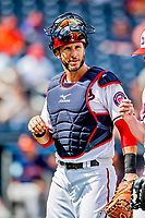 27 February 2019: Washington Nationals newly acquired catcher Yan Gomes returns to the dugout between innings of a game against the Houston Astros at the Ballpark of the Palm Beaches in West Palm Beach, Florida. The Nationals defeated the Astros 14-8 in their Spring Training Grapefruit League pre-season game. Mandatory Credit: Ed Wolfstein Photo *** RAW (NEF) Image File Available ***