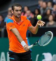 Rotterdam, The Netherlands. 15.02.2014. Marin Cilic(KRO) playing against Igor Sijsling(NED) at the ABN AMRO World tennis Tournament<br /> Photo:Tennisimages/Henk Koster