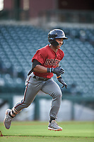 AZL D-backs Glenallen Hill Jr. (6) runs to first base during an Arizona League game against the AZL Cubs 1 on July 25, 2019 at Sloan Park in Mesa, Arizona. The AZL D-backs defeated the AZL Cubs 1 3-2. (Zachary Lucy/Four Seam Images)