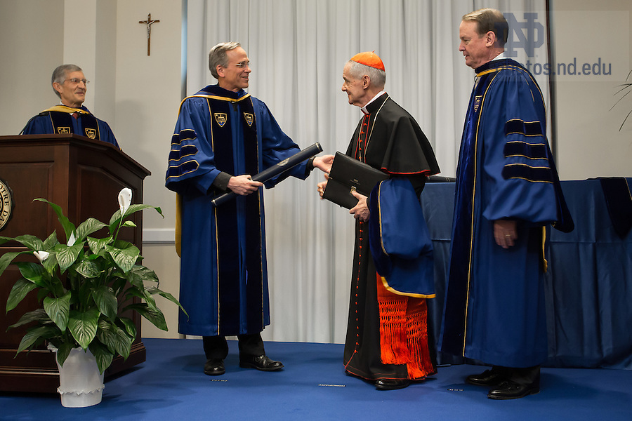 Jan. 27, 2014; University of Notre Dame President Rev. John Jenkins, C.S.C. and Board of Trustees Chairman Richard Notebaert confer an honorary Doctor of Laws degree on His Eminence Jean-Louis Cardinal Tauran at the Notre Dame Rome Centre.<br /> <br /> Photo by Matt Cashore/University of Notre Dame