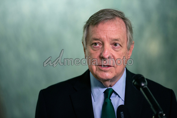 United States Senator Dick Durbin (Democrat of Illinois) speaks to members of the media prior to attending a business meeting of the United States Senate Judiciary Committee at the United States Capitol in Washington D.C., U.S. on Thursday, May 21, 2020.  Credit: Stefani Reynolds / CNP/AdMedia