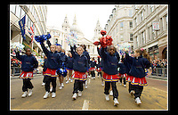 Ascension Eagles - Lord Mayor's Show 2005 - Central London - 12th November 2005 - <br /> <br /> Ascension Eagles Cheerleaders began in November 1996 as an outreach of Ascension Church Centre, Custom House, Newham, London. Rev. Jonathan Brice and his wife Shara, initially started the program as a way to keep youth off the streets & engaged in an activity that promotes both fitness & social interaction.<br /> <br /> Website: http://www.ascensioneagles.com/