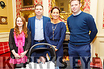 Baby Kevin Kiely with his parents Chris & Bernadette Kiely, Moyvane and god parents Jessica Daughton & Brian Kiely who was christened in Moyvane Church by Fr. Kevin McNamara on Saturday last and afterwards at the Listowel Arms hotel.