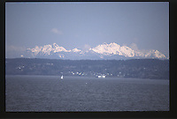 Sailboats on Puget Sound from Ferry, Puget Sound, Washington, US