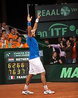 20-9-09, Netherlands,  Maastricht, Tennis, Daviscup Netherlands-France,   Jo-Wilfried Tsonga viert feest, Frankrijk blijft in de Wereldgroep