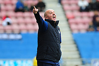 Paul Cook Manager of Wigan Athletic shouts instructions to his team from the dug-out during the Sky Bet Championship match between Wigan Athletic and Swansea City at The DW Stadium in Wigan, England, UK. Saturday 2 November 2019