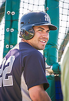 11 March 2014: New York Yankees outfielder Jacoby Ellsbury awaits his turn in the batting cage prior to a Spring Training game against the Washington Nationals at Space Coast Stadium in Viera, Florida. The Nationals defeated the Yankees 3-2 in Grapefruit League play. Mandatory Credit: Ed Wolfstein Photo *** RAW (NEF) Image File Available ***