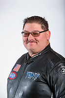Feb 6, 2020; Pomona, CA, USA; NHRA top fuel nitro Harley Davidson motorcycle rider Tony Ruggiero poses for a portrait during NHRA Media Day at the Pomona Fairplex. Mandatory Credit: Mark J. Rebilas-USA TODAY Sports