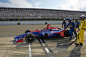 Alexander Rossi, Andretti Autosport Honda returns to the track after lengthy repairs following a multi-car accident on lap 4