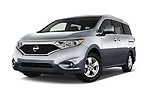 Stock pictures of low aggressive front three quarter view of 2017 Nissan Quest SV 5 Door Minivan Low Aggressive