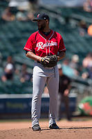 Tacoma Rainiers relief pitcher Dario Alvarez (44) prepares to deliver a pitch during a Pacific Coast League game against the Sacramento RiverCats at Raley Field on May 15, 2018 in Sacramento, California. Tacoma defeated Sacramento 8-5. (Zachary Lucy/Four Seam Images)