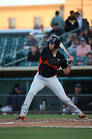 Gio Brusa (26) of the San Jose Giants bats against the Lancaster JetHawks at The Hanger on May 5, 2017 in Lancaster, California. San Jose defeated Lancaster, 4-2. (Larry Goren/Four Seam Images)