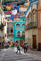 Fine quality WROUGHT IRON BALCONIES and brightly colorful HOUSES define the architectural style of the COLONIAL TOWN of GUANAJUATO - MEXICO