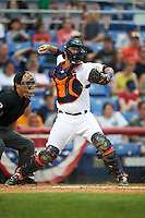 Binghamton Mets catcher Colton Plaia (26) throws down to second as umpire Derek Gonzales looks on during a game against the Trenton Thunder on May 29, 2016 at NYSEG Stadium in Binghamton, New York.  Trenton defeated Binghamton 2-0.  (Mike Janes/Four Seam Images)