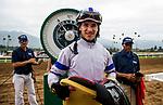 ARCADIA, CA - APRIL 07:  Champion Apprentice Jockey, Even Roman at Santa Anita Derby Day at Santa Anita Park on April 07, 2018 in Arcadia, California.(Photo by Alex Evers/Eclipse Sportswire/Getty Images)