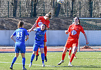 Hanne Mylle of Woluwe and Fleur Pauwels (66) of KRC Genk pictured a duel in a female soccer game between FC Femina White Star Woluwe and KRC Genk on the 17 th matchday of the 2020 - 2021 season of Belgian Scooore Womens Super League , Saturday 20 th of March 2021  in Woluwe , Belgium . PHOTO SPORTPIX.BE | SPP | JILL DELSAUX