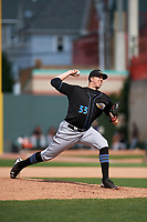 Akron RubberDucks relief pitcher D.J. Brown (33) delivers a pitch during a game against the Erie SeaWolves on August 27, 2017 at UPMC Park in Erie, Pennsylvania.  Akron defeated Erie 6-4.  (Mike Janes/Four Seam Images)