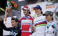 77th Flèche Wallonne 2013..podium: 1/ Daniel Moreno (ESP) + Marianne Vos (NLD), 2/ Sergio Henao (COL), 3/ Carlos Betancur (COL)