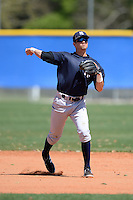 Shortstop Tyler Wade (2) of the New York Yankees organization during practice before a minor league spring training game against the Toronto Blue Jays on March 16, 2014 at the Englebert Minor League Complex in Dunedin, Florida.  (Mike Janes/Four Seam Images)