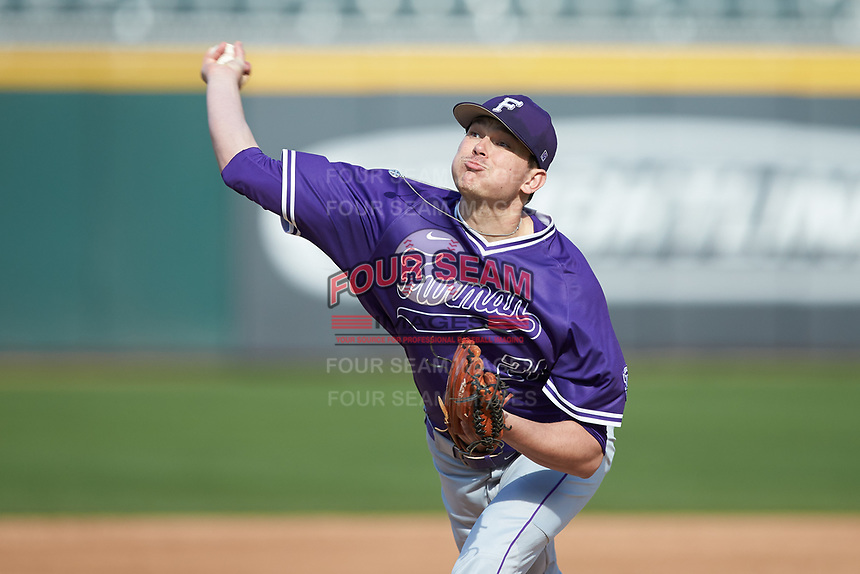 Furman Paladins starting pitcher Nik Verbeke (21) in action against the Wake Forest Demon Deacons at BB&T BallPark on March 2, 2019 in Charlotte, North Carolina. The Demon Deacons defeated the Paladins 13-7. (Brian Westerholt/Four Seam Images)