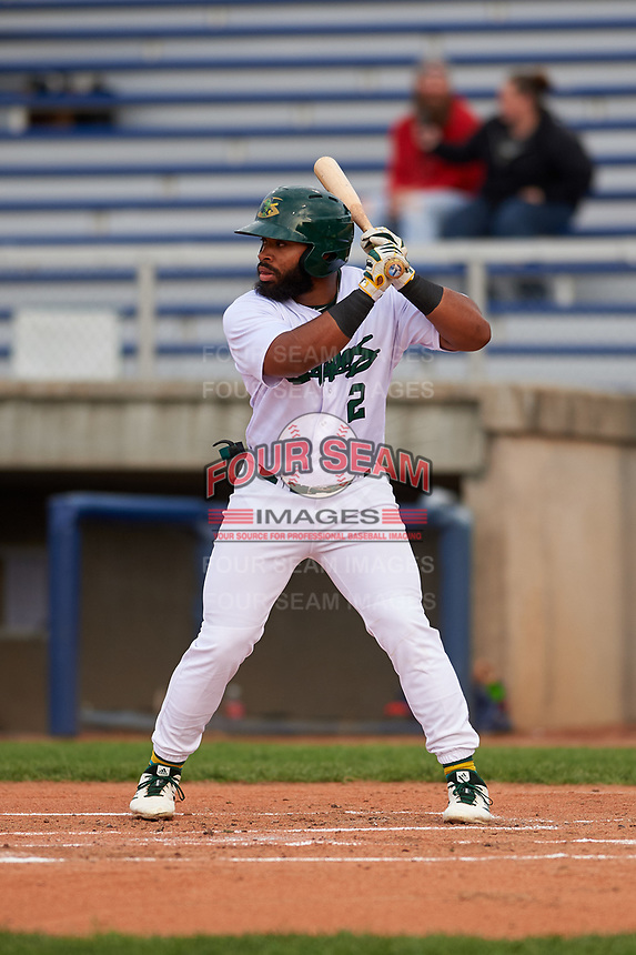 Beloit Snappers left fielder Logan Farrar (2) during a Midwest League game against the Lake County Captains at Pohlman Field on May 6, 2019 in Beloit, Wisconsin. Lake County defeated Beloit 9-1. (Zachary Lucy/Four Seam Images)