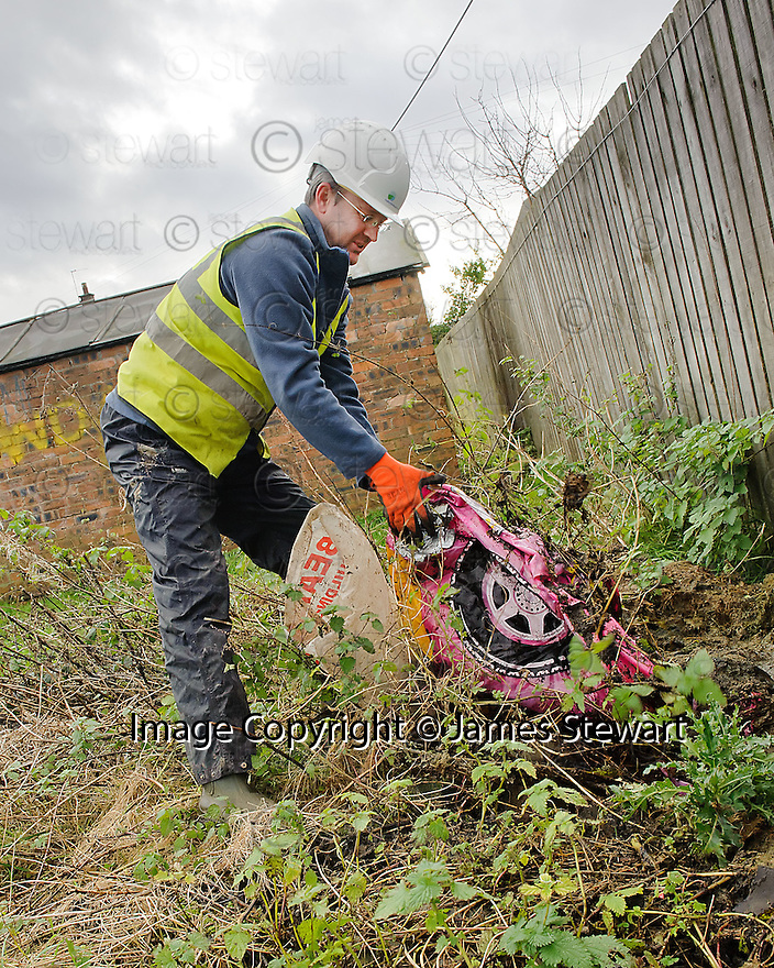The clean up along the path at Cobblebrae Farm gets underway.