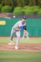 Midland RockHounds pitcher Logan Verrett (25) delivers a pitch on May 6, 2019, at Arvest Ballpark in Springdale, Arkansas. (Jason Ivester/Four Seam Images)