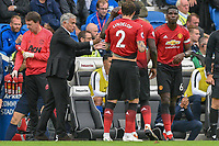 Jose Mourinho Manager of Manchester United speaks to his team in frustration during the Premier League match between Brighton and Hove Albion and Manchester United at the American Express Community Stadium, Brighton and Hove, England on 19 August 2018. Photo by Edward Thomas / PRiME Media Images.