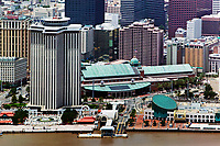 aerial photograph of the Canal Street Terminal, the Audubon Aquarium of the Americas at right, Harrah's Casino New Orleans and Harrah's Hotel, New Orleans, Louisiana