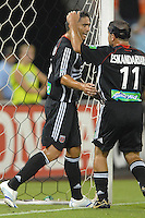 DC United forward Jaime Moreno (99)  celebrates with teammate Alecko Eskandarian (11) after scoring one of the two goals of the night. Los Angeles Galaxy defeated DC United 5-2, Saturday, August 26, 2006 at RFK Stadium.