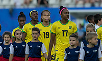 GRENOBLE, FRANCE - JUNE 18: Toriana Patterson #19 of the Jamaican National Team during a game between Jamaica and Australia at Stade des Alpes on June 18, 2019 in Grenoble, France.