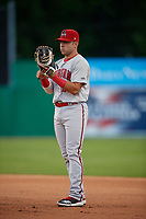 Auburn Doubledays first baseman Anthony Peroni (5) during a NY-Penn League game against the Batavia Muckdogs on June 14, 2019 at Dwyer Stadium in Batavia, New York.  Batavia defeated 2-0.  (Mike Janes/Four Seam Images)