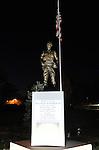 Night shot of William Pitsenbarger monument in Piqua on November 24, 2015