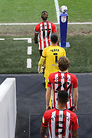 Ivan Toney, captain for the match, leads out the Brentford team during Brentford vs Rotherham United, Sky Bet EFL Championship Football at the Brentford Community Stadium on 27th April 2021