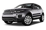 Stock pictures of low aggressive front three quarter view of 2016 Land Rover Range Rover Evoque HSE 5 Door Suv Low Aggressive