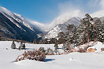 winter, scenic, landscape, fresh, snow, cold, morning, Horseshoe Park, Rocky Mountain National Park, Colorado, USA