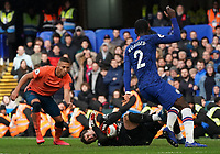 Chelsea's Kepa Arrizabalaga screams in pain after making a save<br /> <br /> Photographer Stephanie Meek/CameraSport<br /> <br /> The Premier League - Chelsea v Everton - Sunday 8th March 2020 - Stamford Bridge - London<br /> <br /> World Copyright © 2020 CameraSport. All rights reserved. 43 Linden Ave. Countesthorpe. Leicester. England. LE8 5PG - Tel: +44 (0) 116 277 4147 - admin@camerasport.com - www.camerasport.com