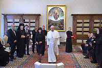 Pope Francis  with Bulgaria's Parliament speaker Tsveta Valcheva Karayancheva during a private audience at the Vatican on May 24, 2019