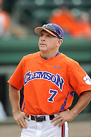 Head coach Jack Leggett (7) of the Clemson Tigers in a game against the Furman Paladins on Tuesday, May 12, 2015, at Fluor Field at the West End in Greenville, South Carolina. Clemson won, 23-15. (Tom Priddy/Four Seam Images)