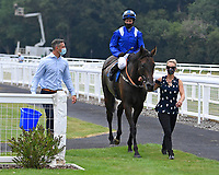 Winner of The British Stallion Studs EBF Odstock Fillies' Handicap Almareekh ridden by Jim Crowley and trained by Sir Michael Stoute is led into the Winners enclosure during Horse Racing at Salisbury Racecourse on 13th August 2020